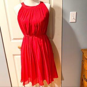 New York & Company red pleated flowy dress